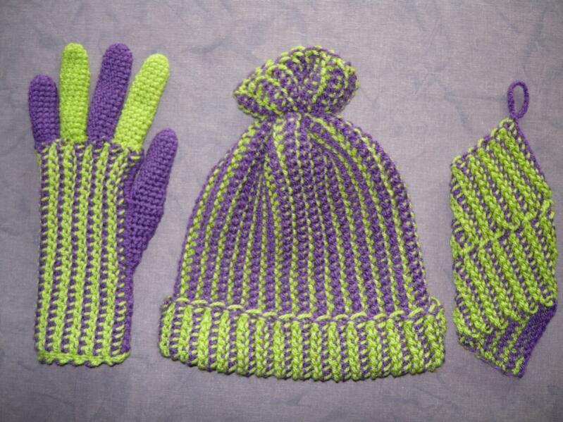 CrochenitsetMütze, Handschuh, Stulpe