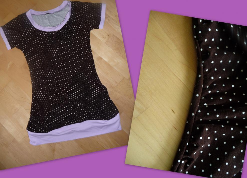meine erste Shelly- bzw erstes Kleidungsstück für mich :) in M mit seitlicher Raffung (Vorderteil 15 cm länger) für den Schwangerschaftsbauch