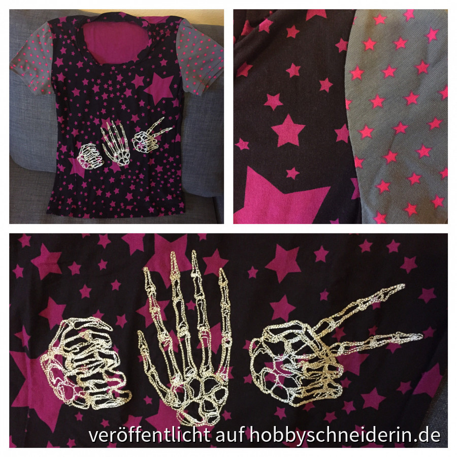 "Tonic Tee mit Stickerei ""Rock Paper Skeleton"""
