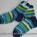 Kindersocken blau-grün-weiß