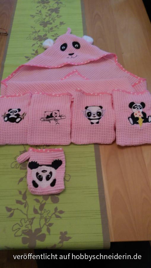 Babyhandtuch m. Kapuze und Waschlappen mit Panda Design