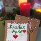 Frohes Fest Weihnachtskarte gestickt