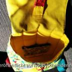 Kinderrucksack Lieselotte von LiebEling, ergänzt um kleinen Geldbeutel, der innen mit Druckknöpfen befestigt ist