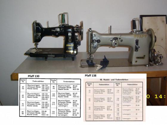 Nadelstärke der Pfaff 130 und der Pfaff 138-6-U .