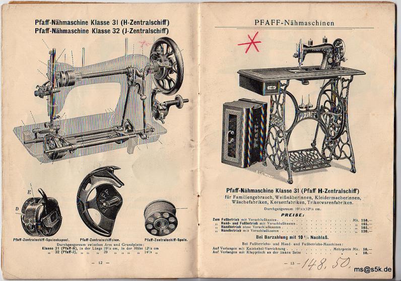 Preisbuch Pfaff 1912