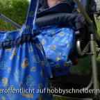 Fußsack, Umhängetasche und Sonnensegel für unseren Hartan mit fröhlichem Tiermotiv