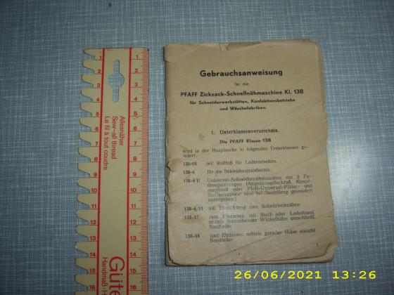 Gebrauchsanweisung 138 -6 -U (in schwartz) Komplett mit Originale Gebrauchs Anweisung.