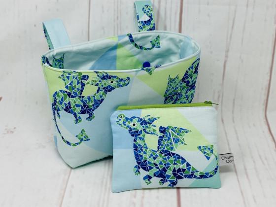 Lenkertasche und Mini Zipper Bag mit Drachen Motiv