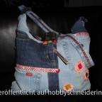 Handtasche Allesdrin von Farbenmix aus alten Jeans von mir recycelt.