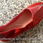 Espadrilles rot mit besticktem Stoff