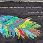 Wandbehang mit Bestickung