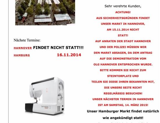 Stoffmarkt Holland Hannover fällt aus