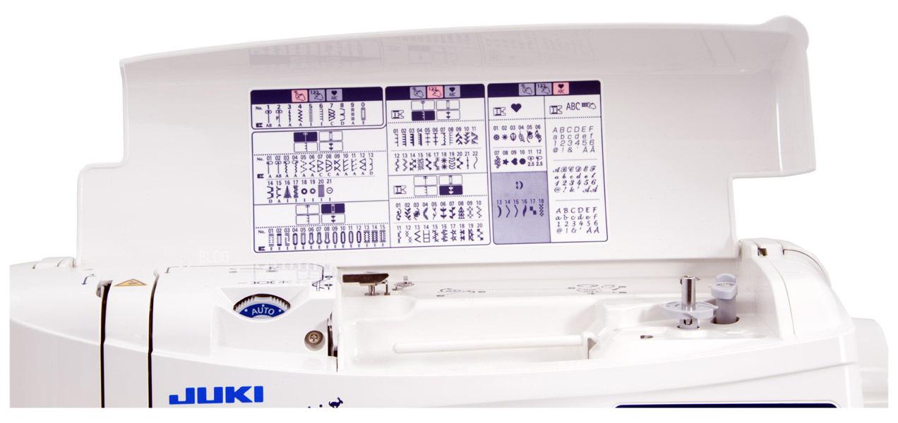 JUKI HZL-F300 Stichübersicht im Deckel