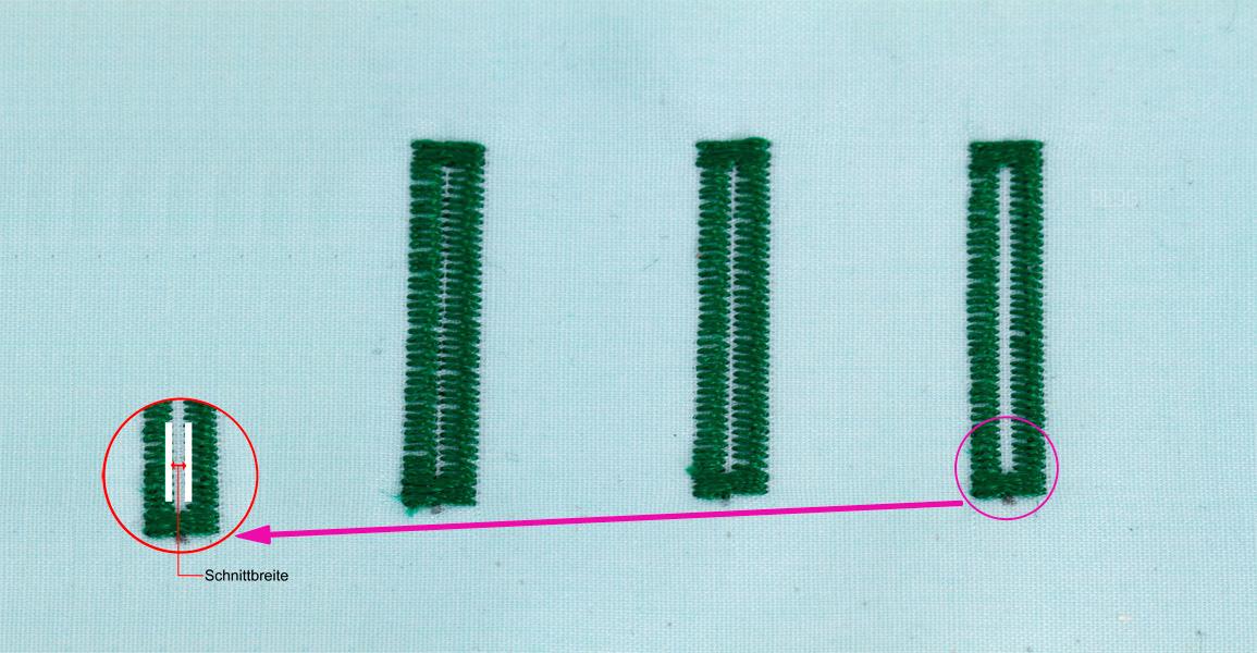 JUKI HZL-DX5 Knopflochschnittbreite einstellbar