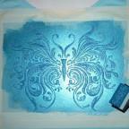 Schablonieren auf Stoffen Farbe