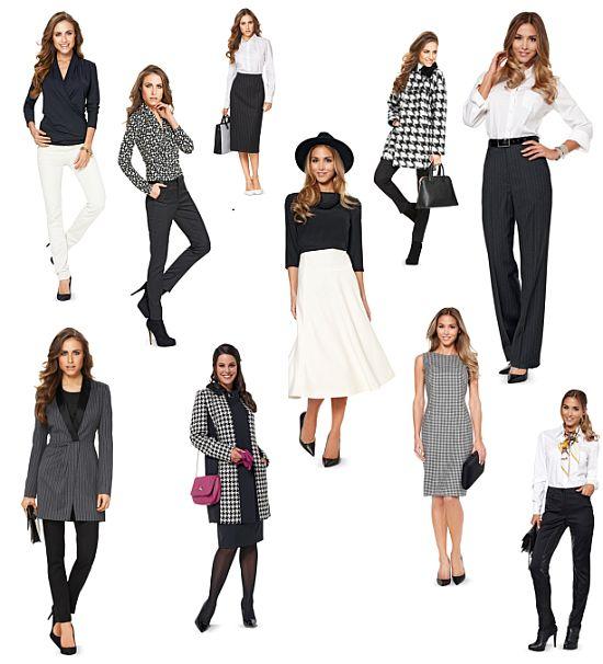 Burda schwarz weiß Kollektion Modelle